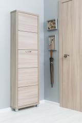 Обувной шкаф Айрон Люкс, боковины и фасад цвета Ясень шимо светлый, 5 секций