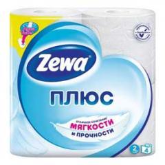 Бумага туалетная Zewa Плюс 2 Сл., со втулкой, 23М, 4 рул., белая