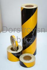 Tape retroreflective black-yellow on a sticky