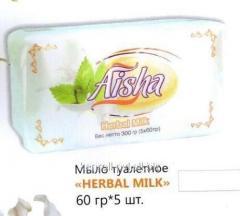 Мыло туалетное Herbal milk 60гр 5шт, Арт. 0469