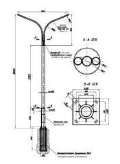 Трубчатые опоры с фундаментом и кронштейном