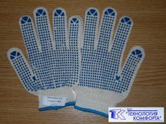Перчатки Х/Б повышенной прочности 7 класс с ПВХ