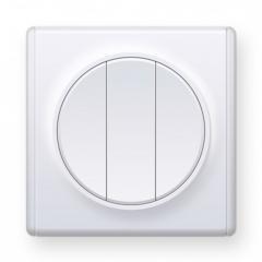 Выключатель тройной, цвет белый (серия Florence)