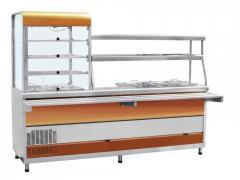 Прилавок-витрина холодильный мармитный универсальный ПВХМ-70КМУ цвет красное золото