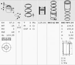 Piston assembly MB OM401 LA, OM402 d125.0 KS