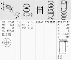 Reciprocating Assembly MB OM401-OM404 d125- KS