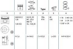 Piston assembly MB OM421A-424A d128.0 STD,