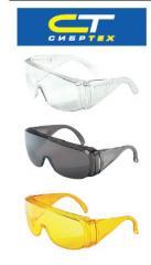 Очки защитные открытого типа, ударопрочный поликарбонат, боковая и верхняя защита