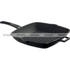 Сковорода-гриль 28х28 см. чугун, чёрная, ручка