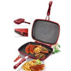 Double frying pan for grilling