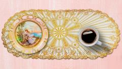 Oval napkin with gold decor 83х40 cm