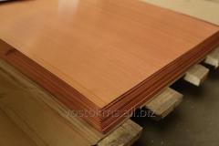 Медный лист, марка: М1М, размер: 0.4x600x1500 мм.
