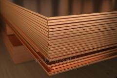 Медный лист, марка: М1М, размер: 0.5x600x1500 мм.