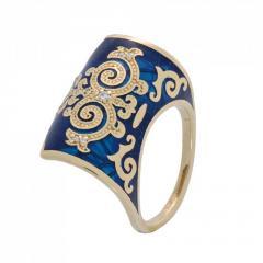 RNG020265 Са?ина (Алтын 585) Эмаль синяя Фианит