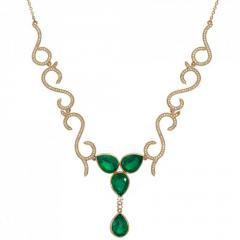 NEC010 бр ??іржиек (Алтын 585) Зеленый кварц 16,55 кт Сапфир 1,7 кт
