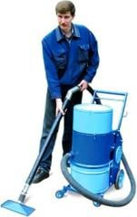 The industrial vacuum cleaner with the dry filter