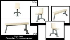 Скамейка горизонтальная и стульчик, Тренажеры для