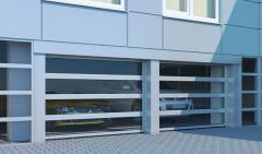 Промышленные секционные ворота с панорамным