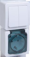 Блок вертикальный выкл 2кл + розетка 1м с з/к о/у