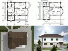 Проекты коттеджей типовые из кирпича в г. Астана
