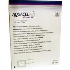 Аквасель Фоум с серебром с силиконовым адгезивом (Aquacel Foam Ag, adh) 25 х30 см