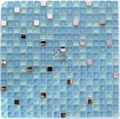 Голубая мозаика из стекла и серебренного метала