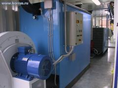 Generators of hot SIMUN air for defrosting and a warming up of sand and crushed stone