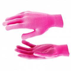 Перчатки Нейлон, ПВХ точка, 13 класс, цвет розовая