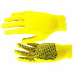 Перчатки Нейлон, ПВХ точка, 13 класс, цвет лимон,
