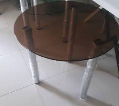Стеклянный стол диаметр 80см