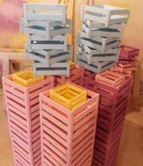 Boxes under gifts decorative. Production.