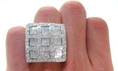 Ring white gold, men's with diamonds