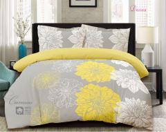 Комплект постельного белья 'Далия' - Желтая расцветка - Сатин «AZALA Textile»