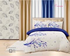 Комплект постельного белья 'Снегири в синем' - Сатин «AZALA Textile»