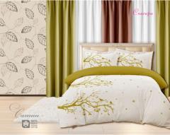 Комплект постельного белья 'Снегири в горчичном' - Сатин «AZALA Textile»
