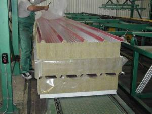 Wall and roofing panels a mineral-cotton heater on