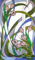 Stained-glass windows are classical, the mosaic