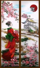 Las vidrieras en el estilo japonés - el arte el