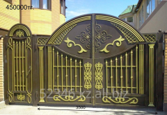 The forged gate with the Kazakh ornamen