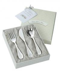 Silver spoon, fork and knife
