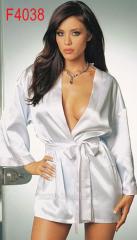 White satin dressing gown