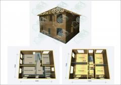 Set of the wooden and frame house 255 of sq.m