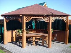 Arbors, swing, tables, chairs, shops. Carved