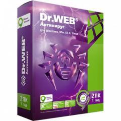Antivirus of Dr. Web 2 personal computer 1 year