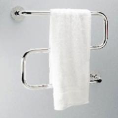 Heated towel rail of S-shaped white 40 W