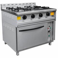 The gas stove with an oven