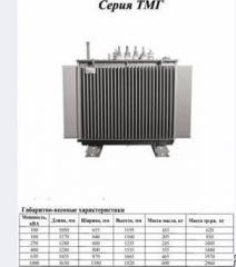 Трансформаторы ТМГ по мощностям