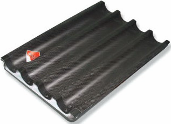 The baking sheet for baguettes with a teflon
