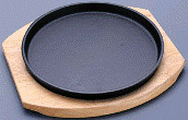 Frying pan brazier round for giving of a dish, an