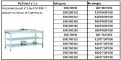 Рабочий стол нержавеющая сталь AISI 304 с двумя